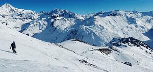 Snowboarding on a snowy mountain