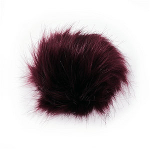 Wine Red Faux Fur Pom Pom