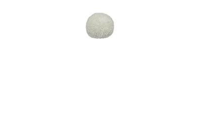 white wool pom pom