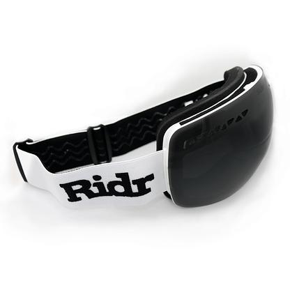 Interchangeable magnetic Black Polarised lens on White Frame and Strap