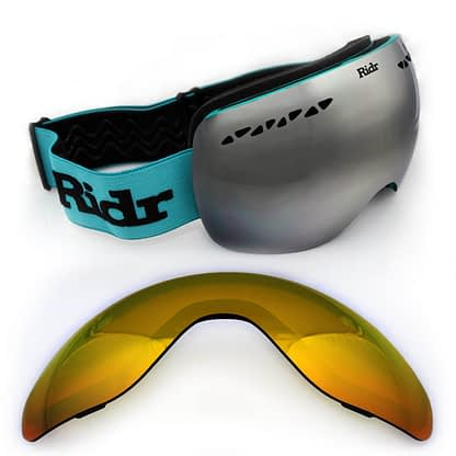 Teal Ridr Edge Goggles with two interchangeable lenses.