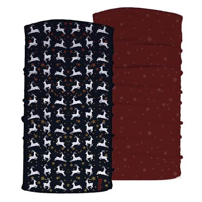 Christmas Reindeer and burgundy stars neck tubes set